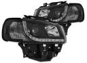VW TRANSPORTER T4 96-03 Lampy przód Clear Black DAYLIGHT LED